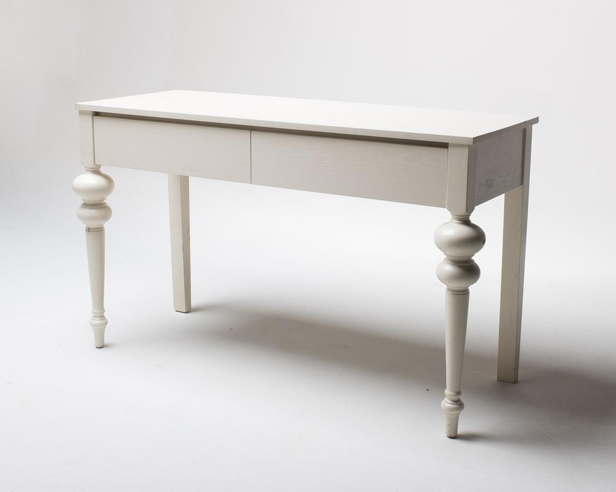 TB015 White Two Drawer Desk Prop Rental