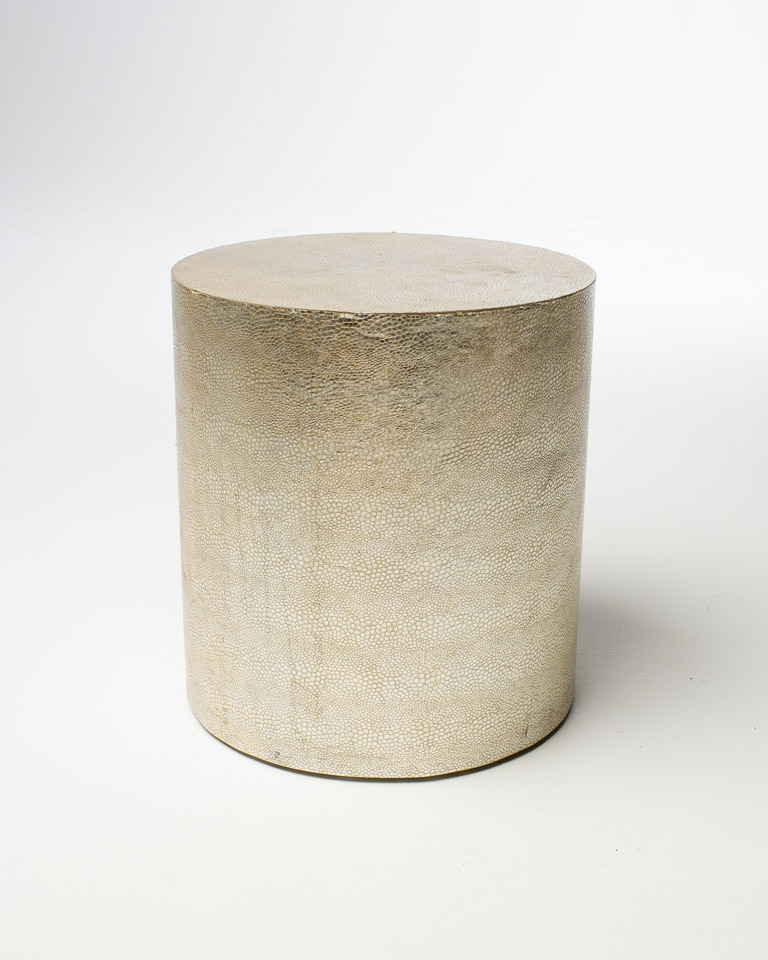 Front view of Gold Leather Embossed Cylindrical Side Table