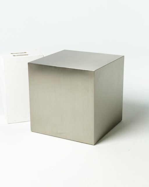 "Front view of 20"" Stainless Steel Cube"