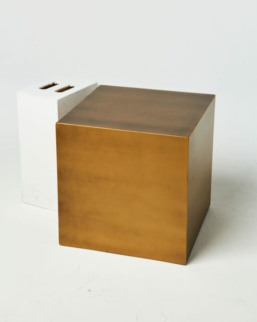 "Front view of 20"" Brushed Bronze Cube"