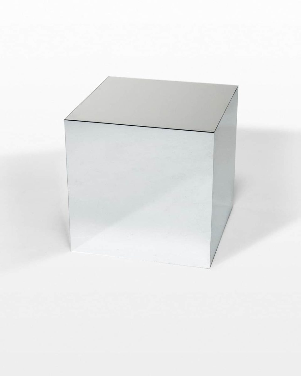 "Front view of 20"" Reflect Mirrored Cube"