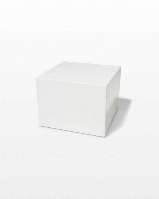 Front view of Benny White Lacquer Cube Table