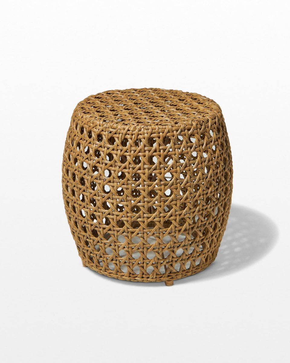 Front view of Pearl Caned Wicker Stool Table