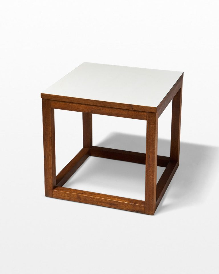 Front view of Gwen Wooden Cube Side Table