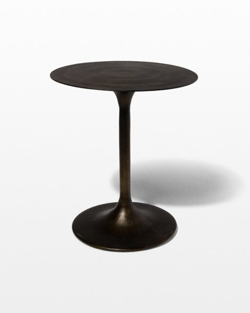 Front view of Antiqued Bronze Tulip Side Table