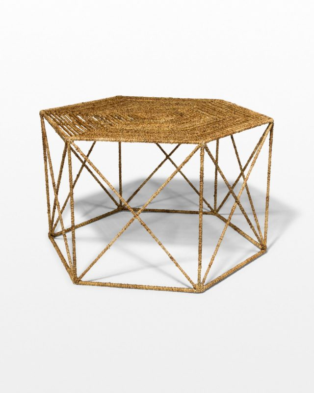 Front view of Jute Hexagon Coffee Table