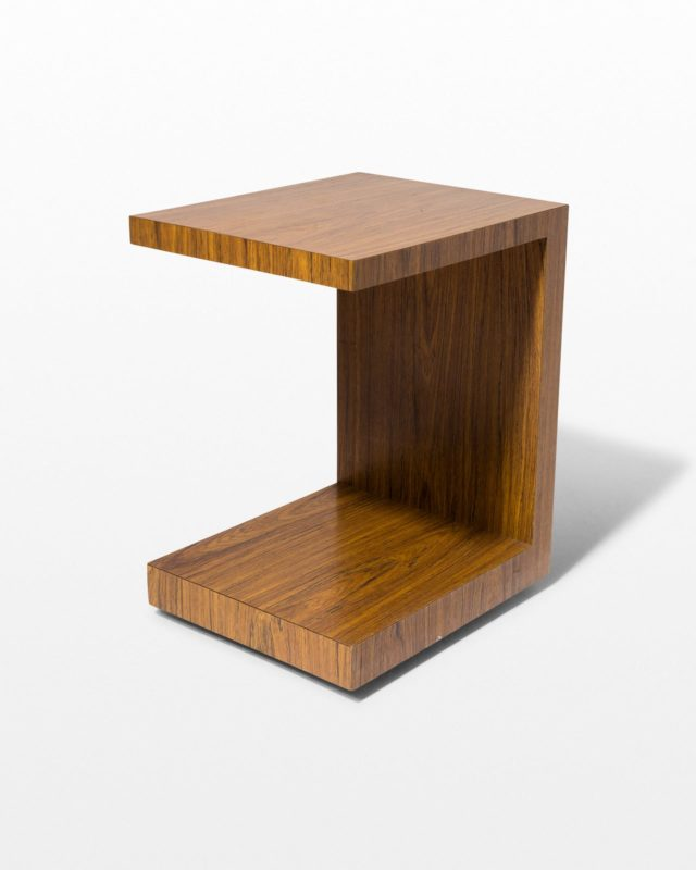 Front view of Earl Rolling Wood Veneer Side Table