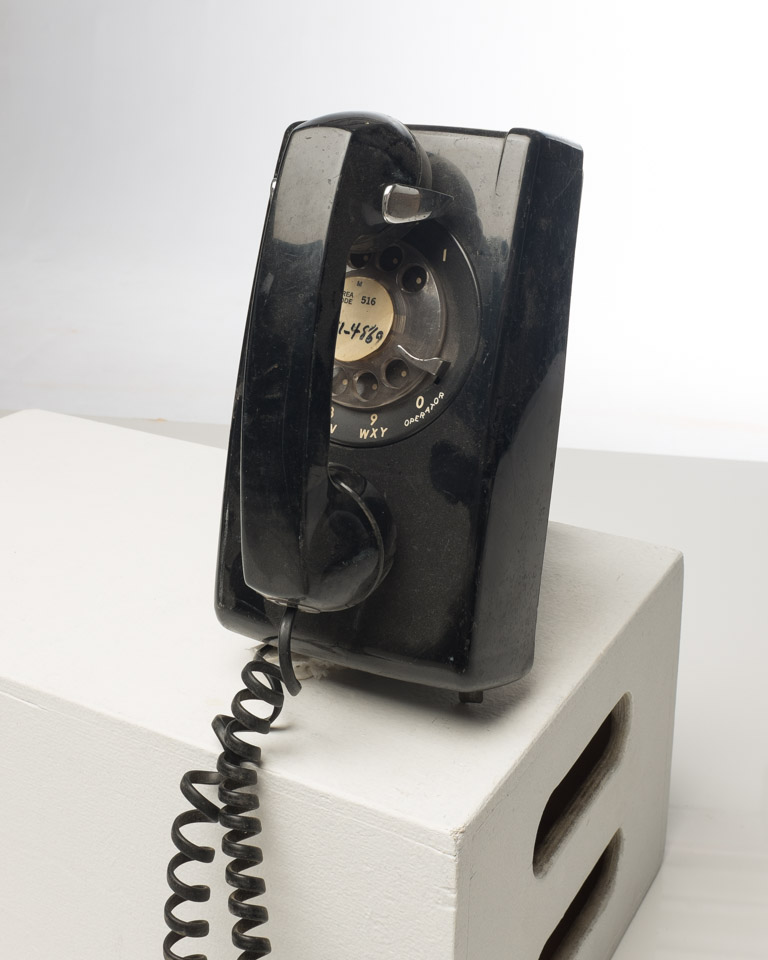 Front view of Black Rotary Wall Phone