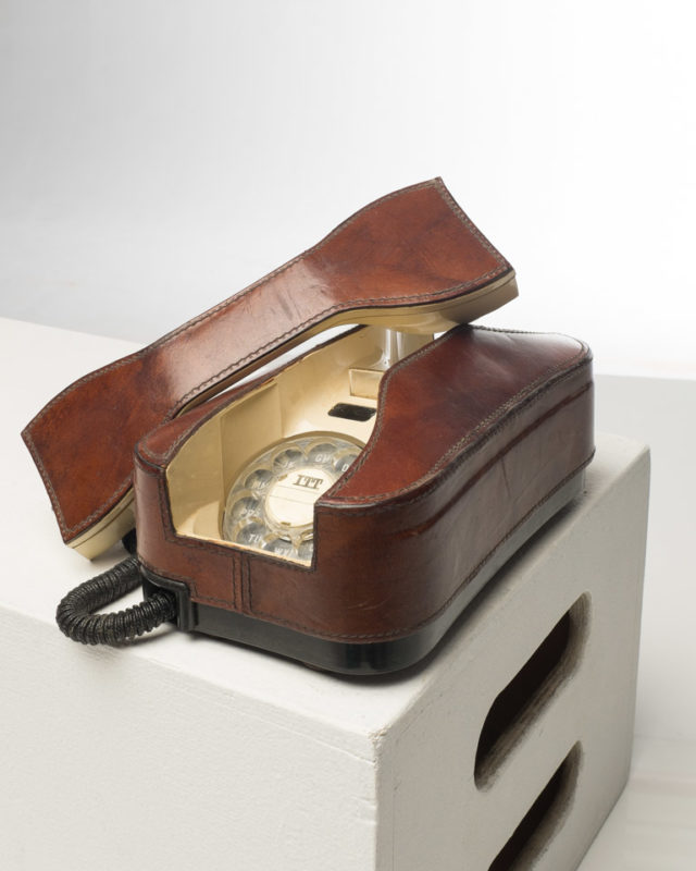 Front view of Vintage Leather Rotary Phone