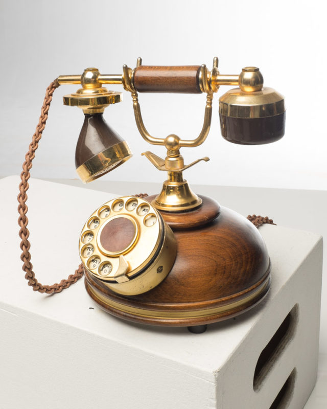 Front view of Classic Tabletop Wooden Accent Phone