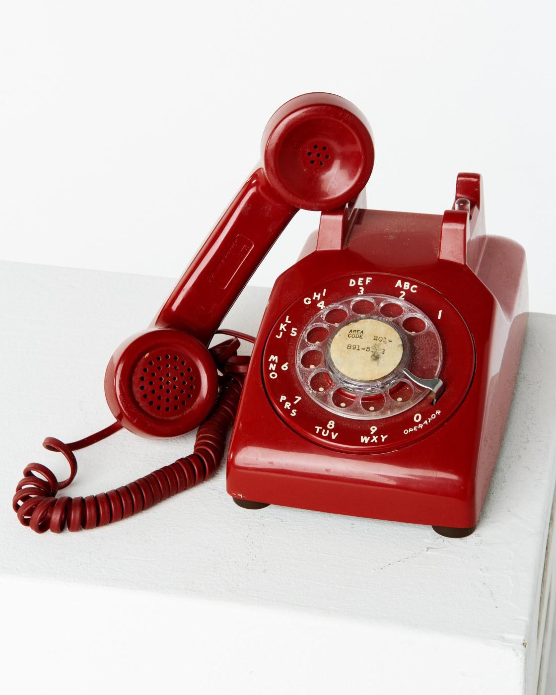 Te010 Red Rotary Phone Prop Rental Acme Brooklyn