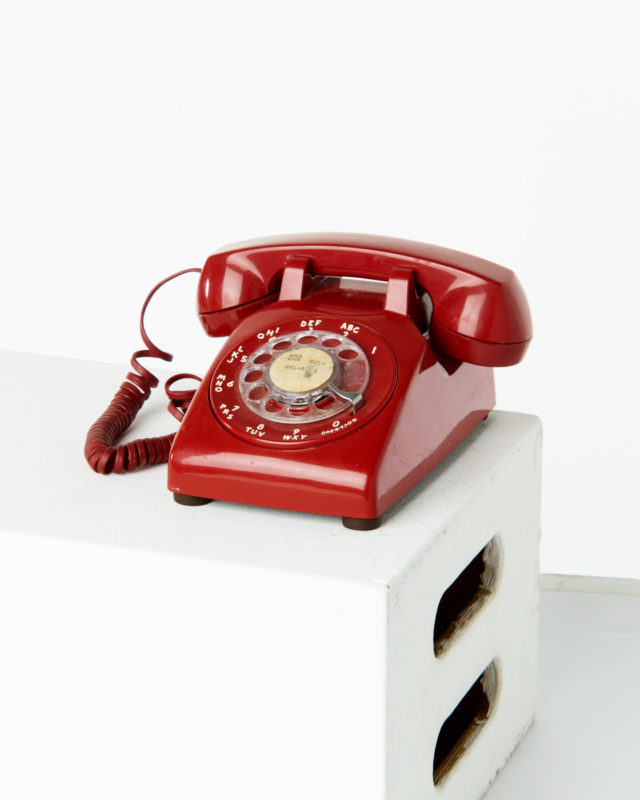 Front view of Red Rotary Phone