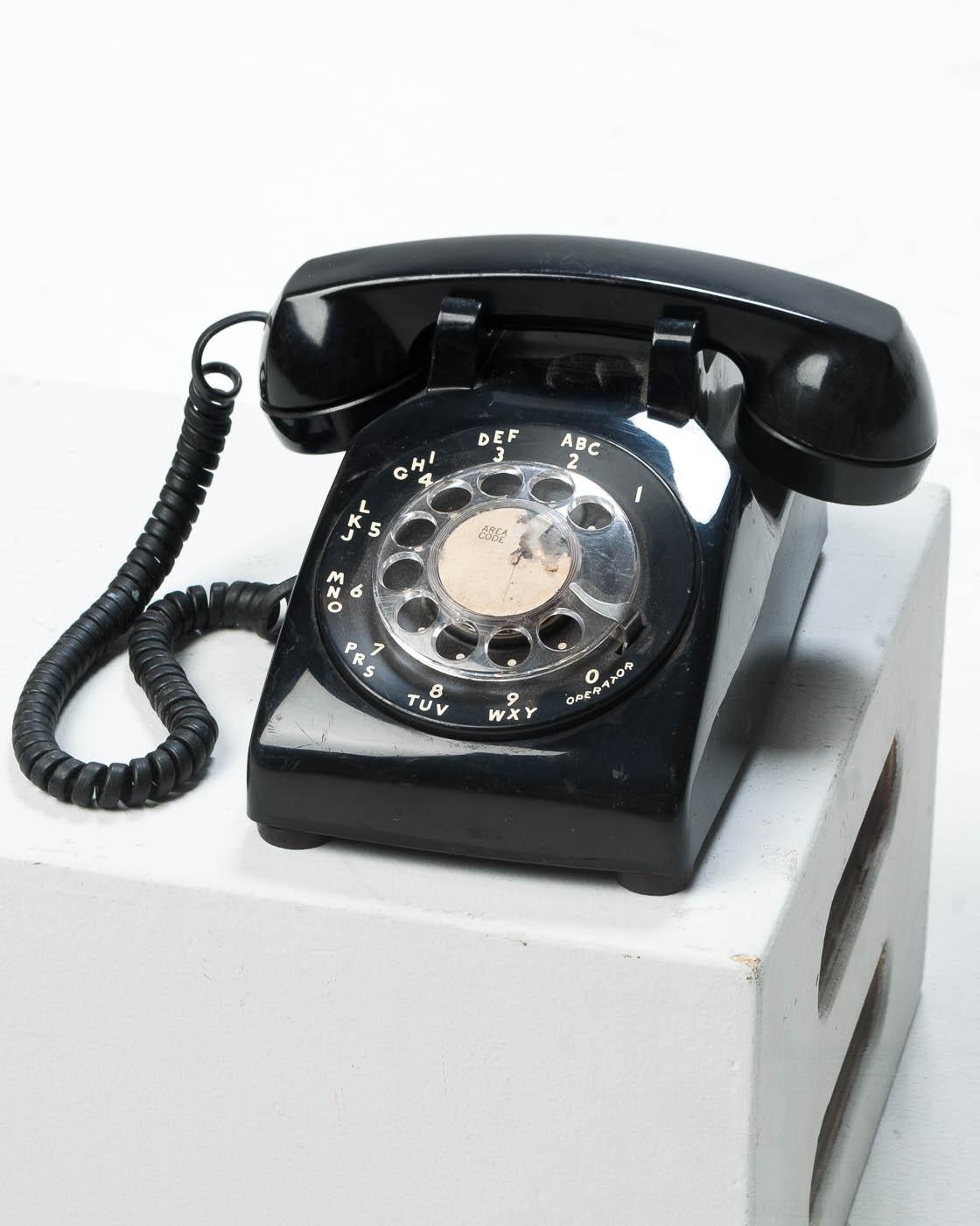 TE017 Reis Black Rotary Telephone Prop Rental   ACME Brooklyn