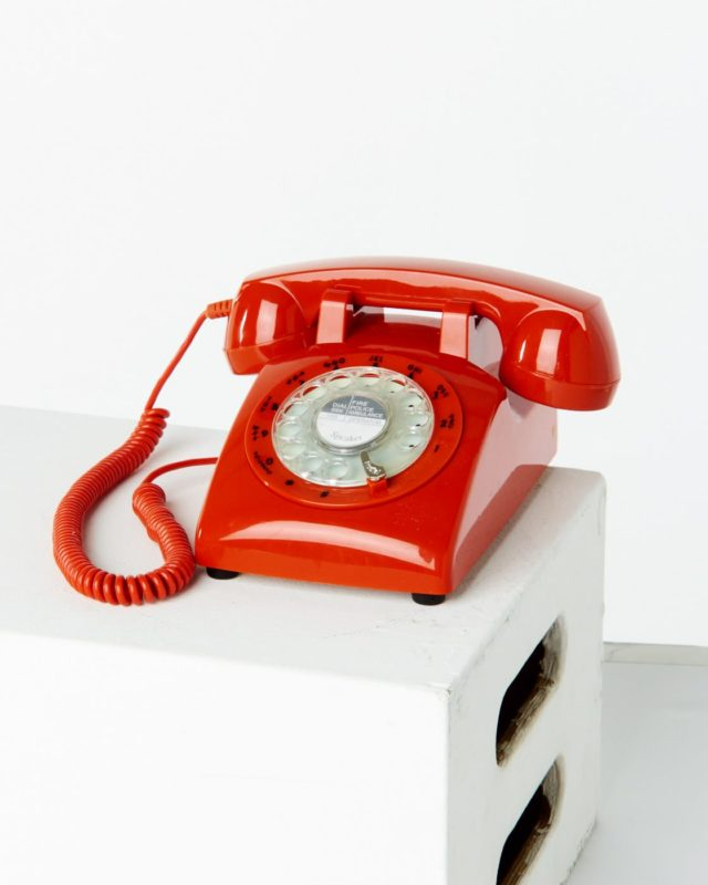 Front view of Shaw Red Rotary Phone