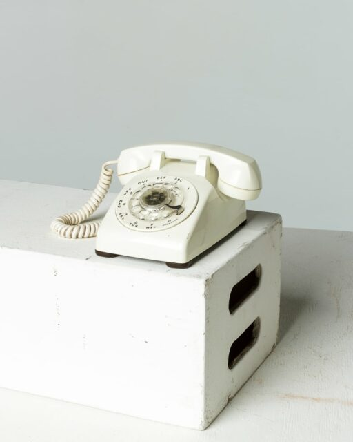 Front view of White Rotary Phone