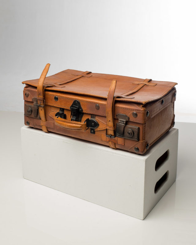 Front view of Vintage Brown Small Leather Luggage