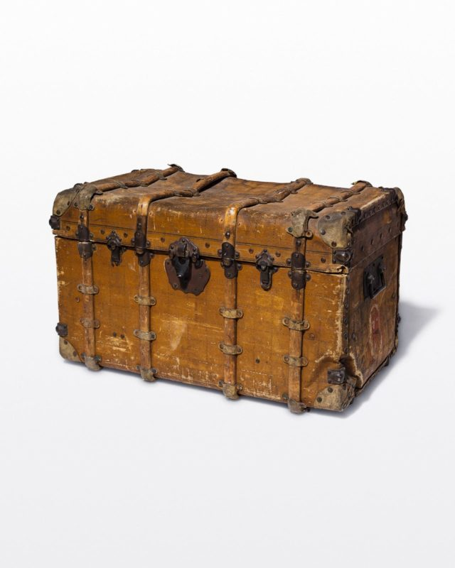 Front view of Weathered Antique Trunk