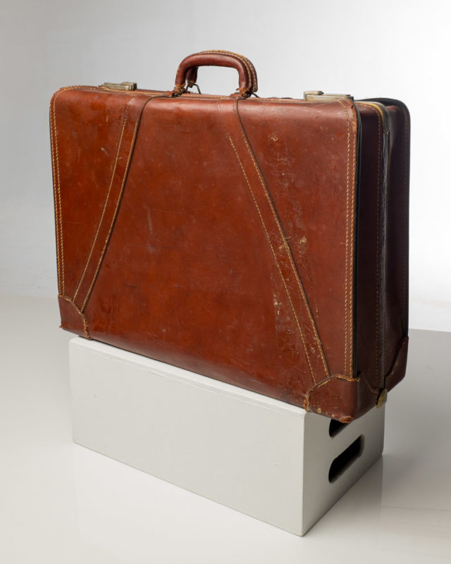 Front view of Vintage Brown Leather Suitcase