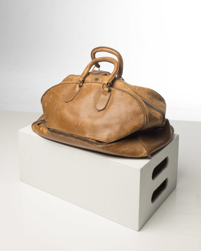 Front view of Distressed Leather Duffel Bag