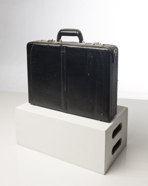 Front view of Black Leather Briefcase