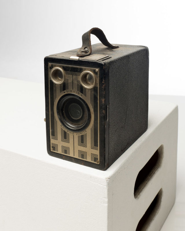 Front view of Kodak Six-16 Brownie Junior Camera With Strap