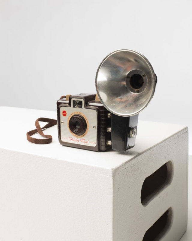 Front view of Kodak Brownie with Flash