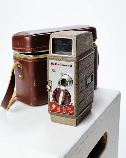 Front view of Bell and Howell 8mm Movie Camera