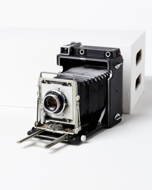 Front view of Crown Graphic Large Format Camera