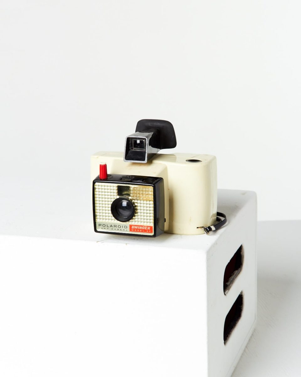 Front view of Polaroid Land Swinger Camera