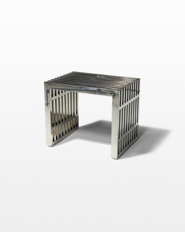 Front view of Small Silver Stripe Bench Side Table