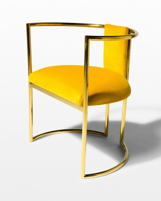 Front view of Marigold Velvet and Gold Chair