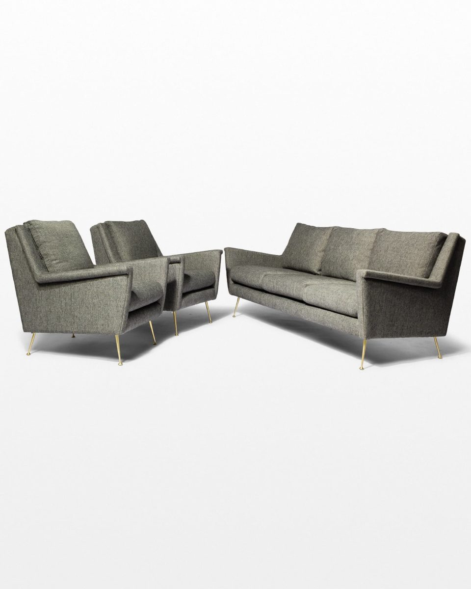 Front view of Carolyn Grey Twill Sofa and Armchair Set