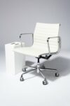 Alternate view thumbnail 1 of Dennis White Leather Rolling Chair