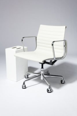 Alternate view 1 of Dennis White Leather Rolling Chair