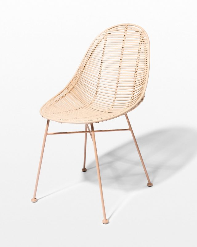 Front view of Isla Blush Rattan Chair