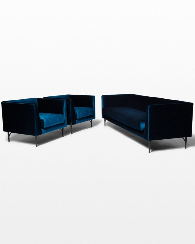 Front view of Cruise Blue Velvet Sofa and Chair Set