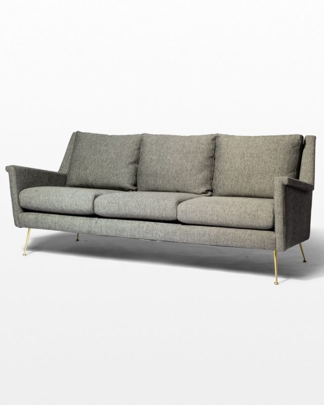 Front view of Carolyn Grey Twill Sofa