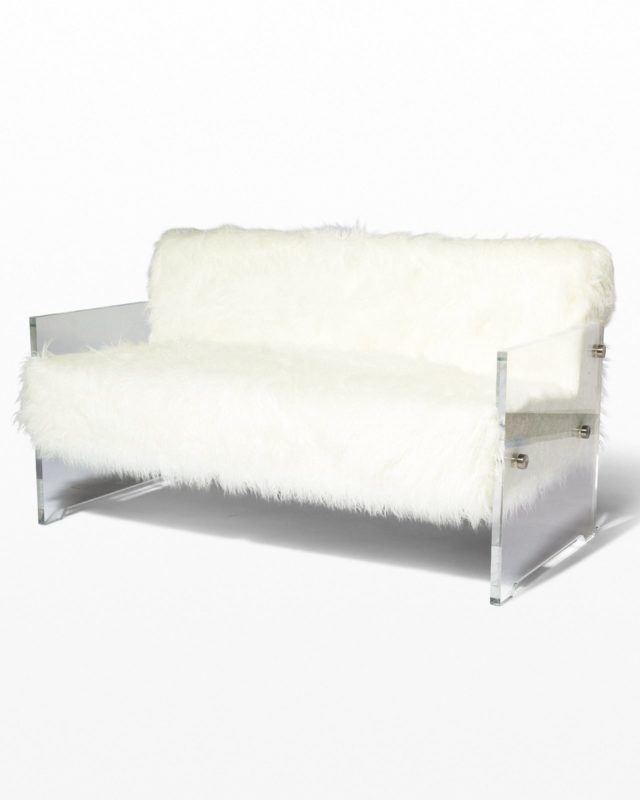 Front view of Myst Acrylic and Fur Love Seat