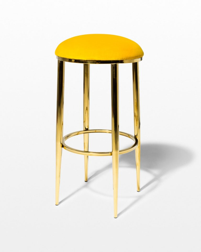 Front view of Marigold Velvet and Gold Stool