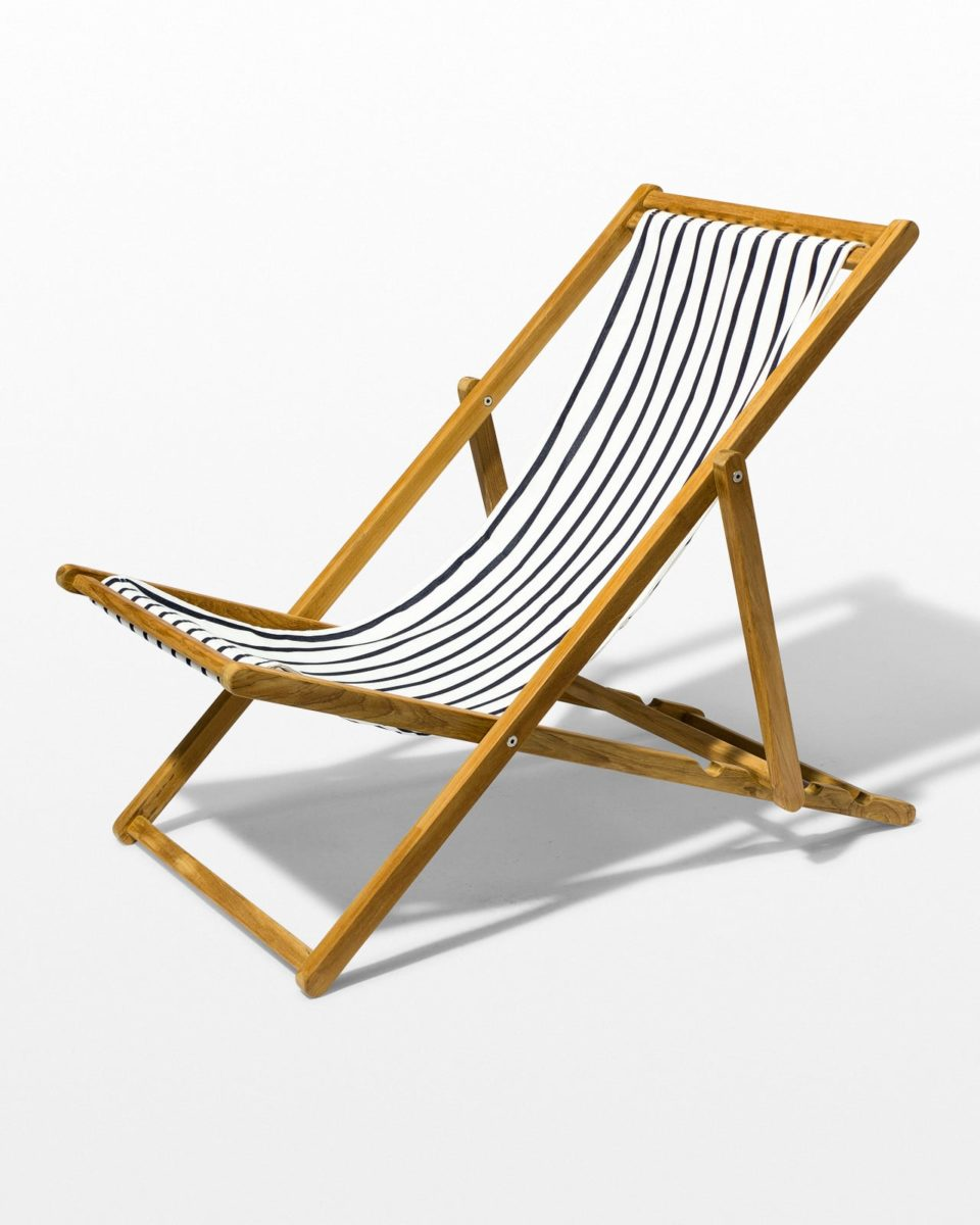 Front view of Lagos Stripe Teak Sling Chair