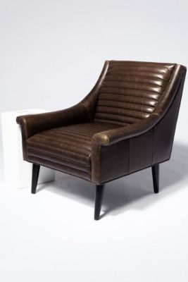 Alternate view 1 of Napa Channeled Brown Leather Armchair