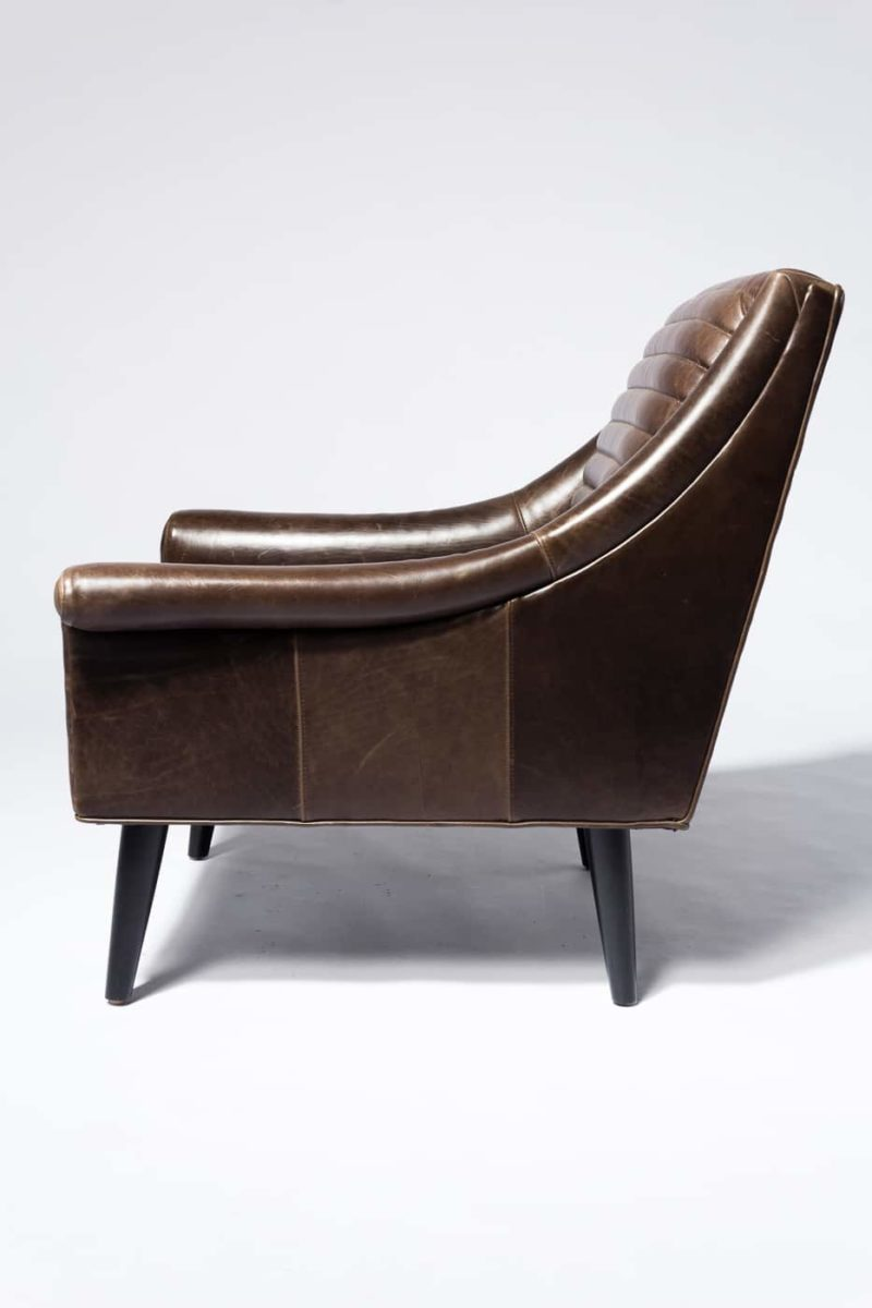 Alternate view 3 of Napa Channeled Brown Leather Armchair