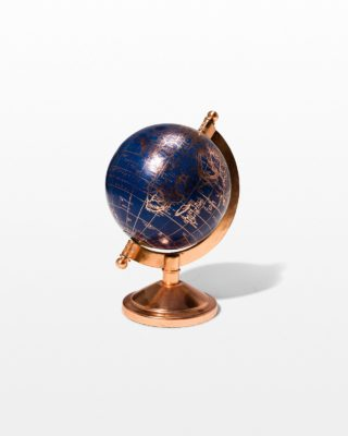 Front view of Ocean Blue and Rose Gold Mini Globe