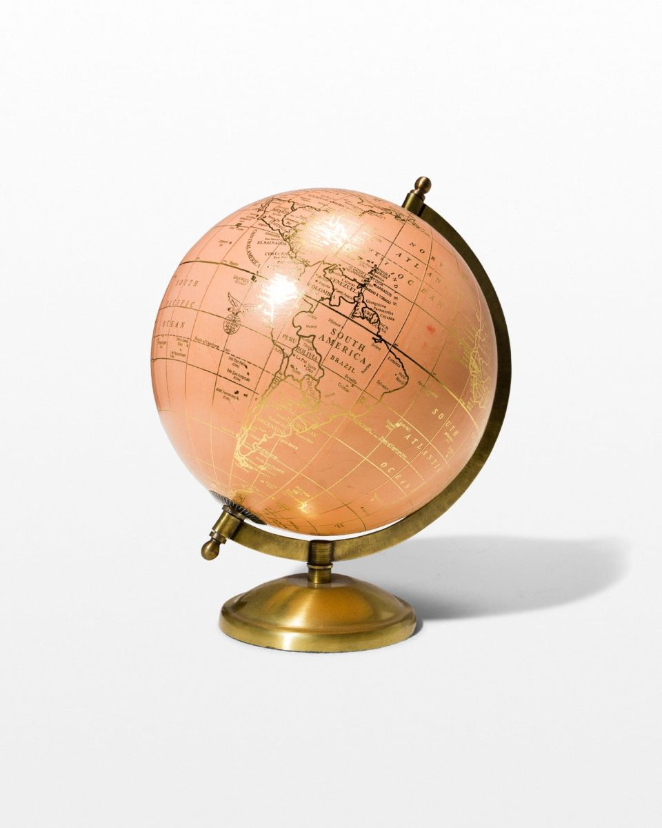 Front view of Peach and Gold Globe