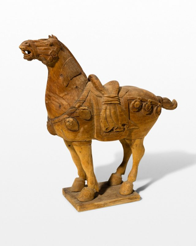 Front view of Dilling Wooden Horse Sculpture