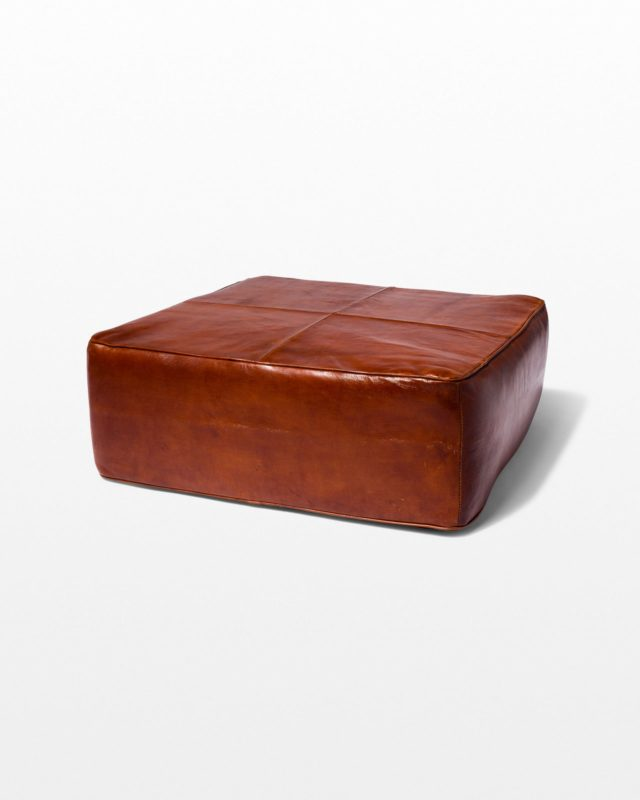 Front view of Cognac Leather Floor Pillow