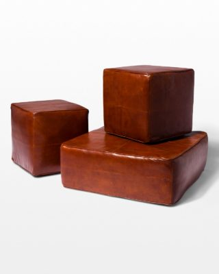 Front view of Cognac Leather Floor Pillow and Ottomans Set