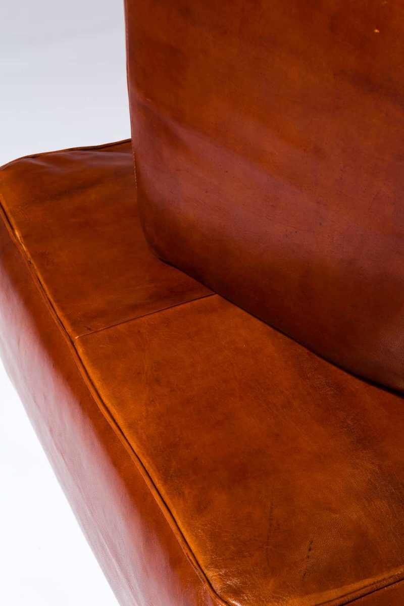 Alternate view 1 of Cognac Leather Floor Pillow and Ottomans Set