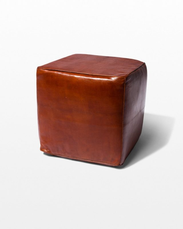 Front view of Cognac Leather Ottoman