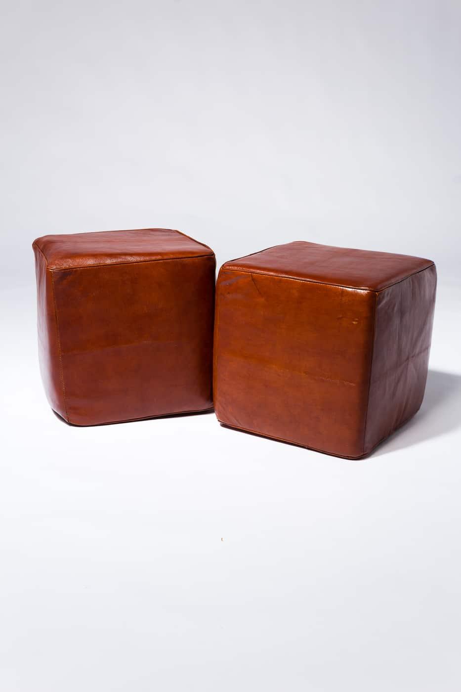 Sg052 Cognac Leather Ottoman Prop Rental Acme Brooklyn